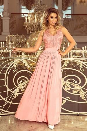 Rochie maxi de seara cu dantela Lea, roz pastel0