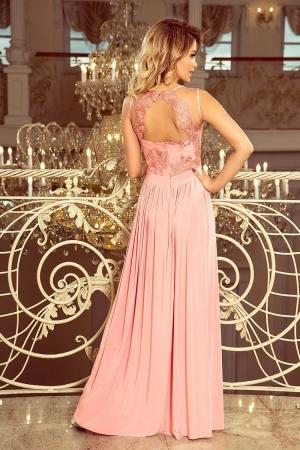 Rochie maxi de seara cu dantela Lea, roz pastel1