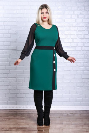 Rochie dreapta midi verde cu maneci lungi negre0