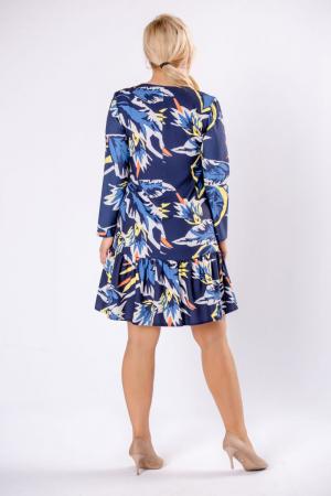 Rochie midi cu volane, maneca lunga, imprimeu multicolor1