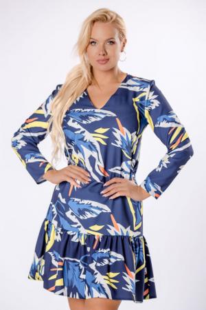 Rochie midi cu volane, maneca lunga, imprimeu multicolor2