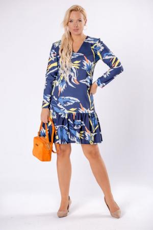 Rochie midi cu volane, maneca lunga, imprimeu multicolor0