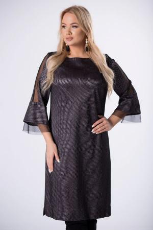 Rochie midi eleganta cu insertie din tulle negru1