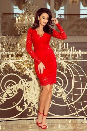 Rochie midi de seara din dantela rosie Marina0