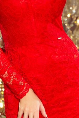 Rochie midi de seara din dantela rosie Marina3