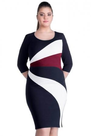 Rochie de zi casual cu dungi Gabriela, negru1