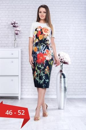 Rochie midi de zi imprimeu floral Romina0