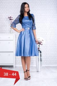 Rochie midi eleganta cu dantela albastra Sidonia