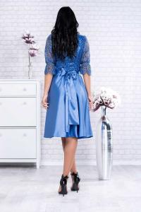 Rochie midi eleganta cu dantela albastra Sidonia1