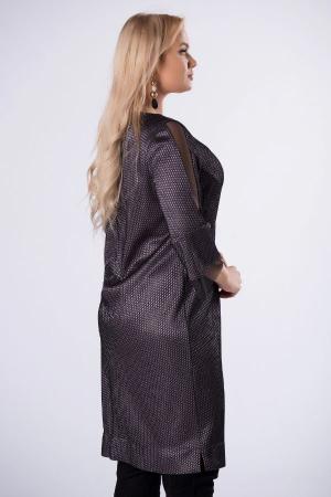 Rochie midi eleganta cu insertie din tulle negru3