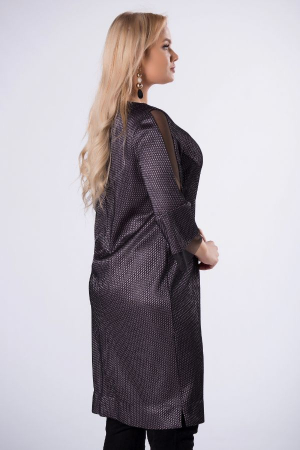 Rochie de ocazie midi eleganta cu insertie din tulle negru3