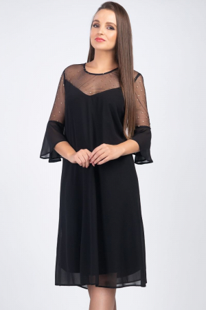 Rochie midi eleganta din voal negru cu plasa cu buline aurii [3]