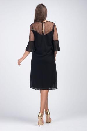 Rochie midi eleganta din voal negru cu plasa cu buline aurii [1]