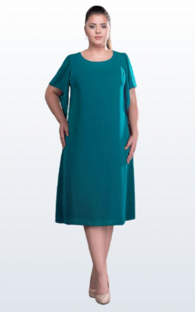 Rochie midi eleganta din voal verde marimi mari [0]