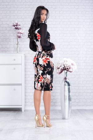 Rochie midi eleganta neagra cu imprimeu floral Karen1