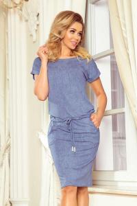 Rochie sport cu buzunare Numoco bleu jeans2