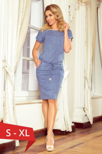 Rochie sport cu buzunare Numoco bleu jeans0