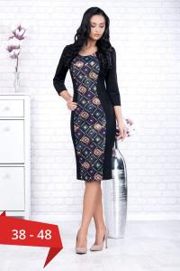 Rochie neagra casual cu imprimeu geometric Ania