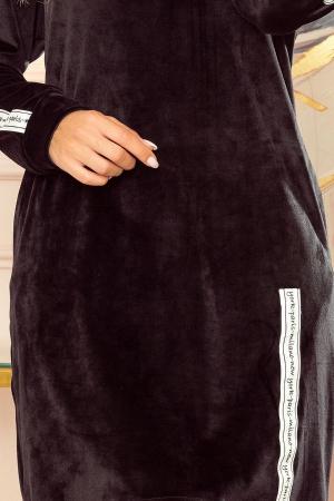 Rochie hanorac din catifea neagra cu buzunare si gluga [3]