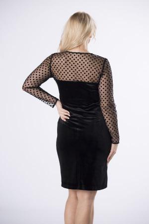 Rochie de seara din catifea neagra cu maneci din tulle cu buline2