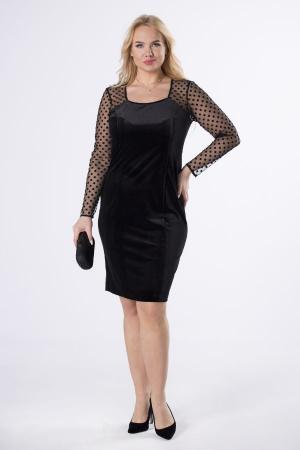 Rochie de seara din catifea neagra cu maneci din tulle cu buline0