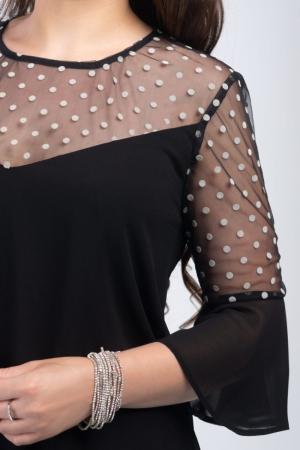 Rochie neagra din voal cu plasa si buline albe - Marimi mari [2]