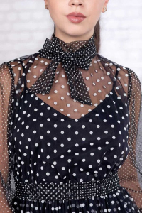 Rochie neagra eleganta cu buline albe Elisabeth3