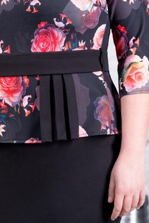 Rochie neagra eleganta cu flori rosii Noelia3