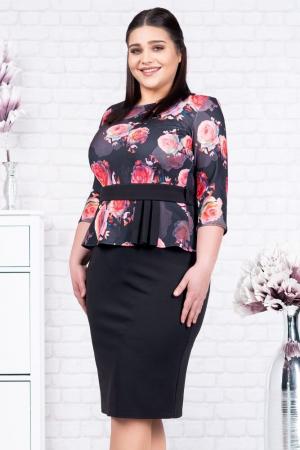Rochie neagra eleganta cu flori rosii Noelia1