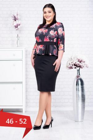 Rochie neagra eleganta cu flori rosii Noelia0