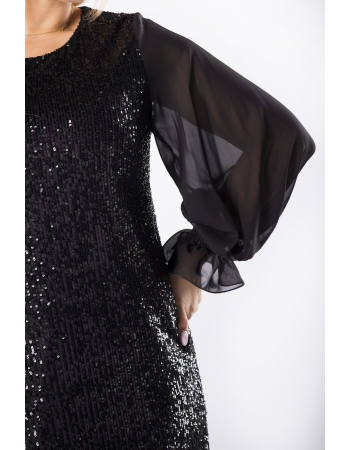 Rochie neagra cu paiete si maneci lungi din tulle2