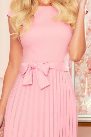 Rochie plisata eleganta roz cu cordon - Rochii Numoco Polonia [3]