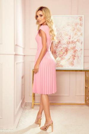 Rochie plisata eleganta roz cu cordon - Rochii Numoco Polonia [1]