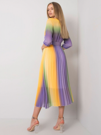Rochie plisata multicolora galben-mov - Rochii plisate elegante [1]