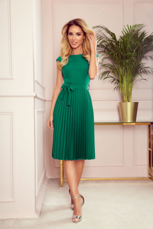 Rochie plisata eleganta verde cu funda - Rochii Numoco [0]