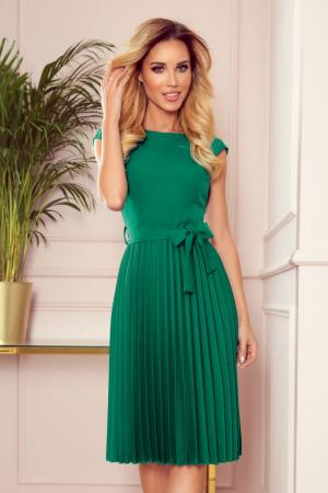 Rochie plisata eleganta verde cu funda - Rochii Numoco [3]