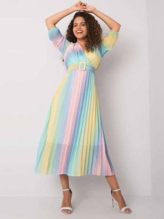 Rochie plisata midi cu curea si imprimeu curcubeu bleu-roz [0]