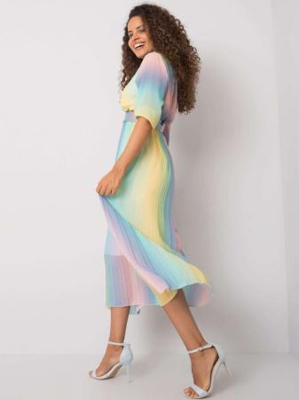 Rochie plisata midi cu curea si imprimeu curcubeu bleu-roz [1]