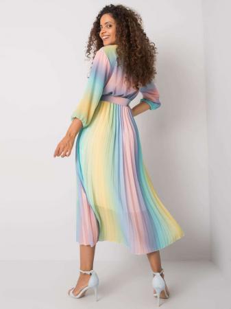 Rochie plisata midi cu curea si imprimeu curcubeu bleu-roz [2]