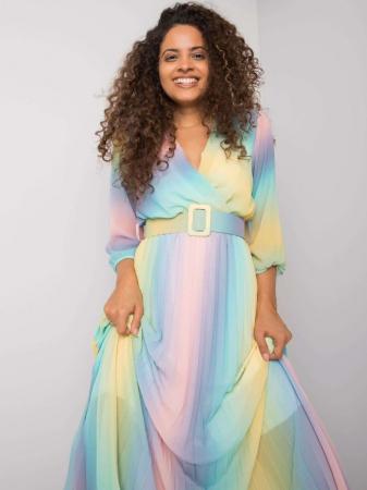 Rochie plisata midi cu curea si imprimeu curcubeu bleu-roz [3]