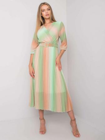 Rochie plisata midi eleganta curcubeu verde portocaliu [0]