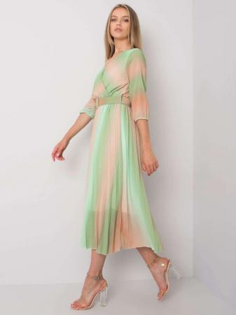 Rochie plisata midi eleganta curcubeu verde portocaliu [2]
