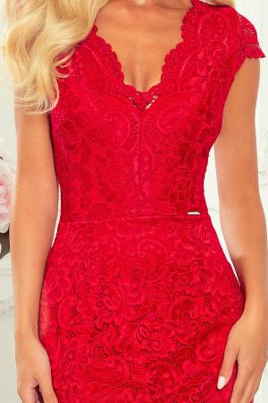 Rochie rosie de seara din dantela2