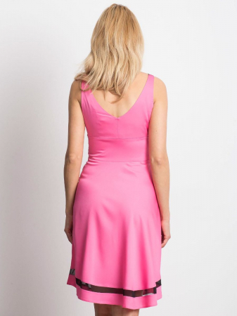 Rochie roz eleganta cu plasa neagra transparenta - Rochii ieftine [1]