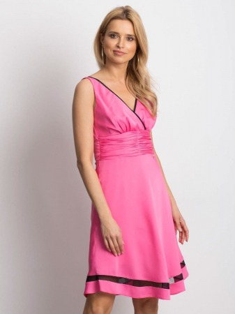 Rochie roz eleganta cu plasa neagra transparenta - Rochii ieftine [2]