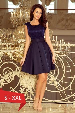 Rochie de seara scurta bleumarin Flora0