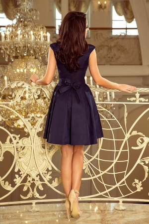 Rochie de seara scurta bleumarin Flora2