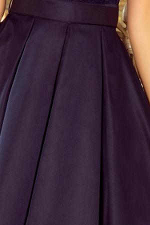 Rochie de seara scurta bleumarin Flora3