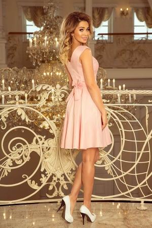 Rochie scurta de seara din dantela Flora, roz pastel2