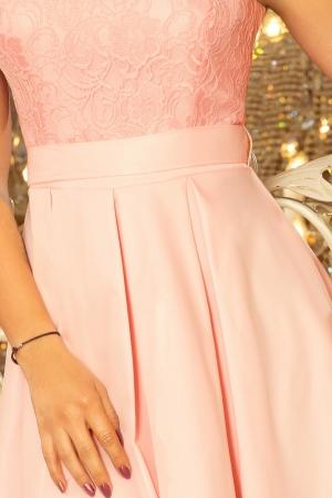 Rochie scurta de seara din dantela Flora, roz pastel3